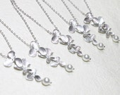 Bridesmaid Gift Set- Set of 5 Pearl with Orchid flower Necklace - S2033-3