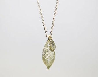 Two leaves - personalized initial gold leaf Necklace - S2336-2