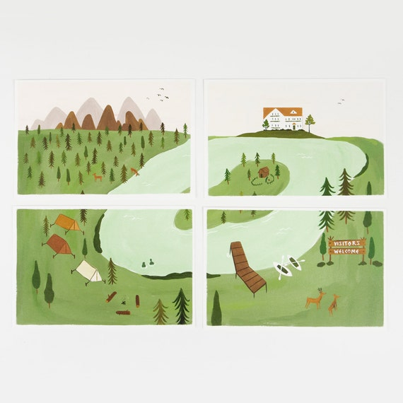 Sale! Forest Park Postcard Set 4pcs