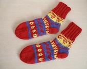 Knitted Ethno Socks, size 38-40