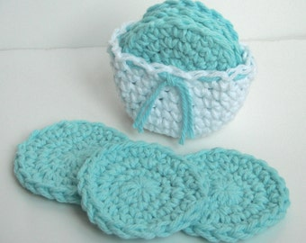 Crochet Scrubbies with Crochet Basket - Set of 7  - White, Aqua Blue - 100% Cotton