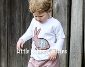 Boys Monogrammed Easter Bunny Shirt - Chocolate and Ocean Blue