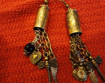 EtchedBrass  Bullet Casing  Gun Angel Wing Earrings
