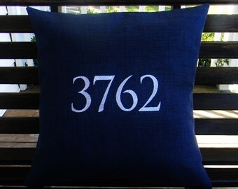 House Number Outdoor Pillow Cover in Indigo Blue