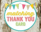 THANK YOU CARD to match any design for baby shower or party, digital, printable file