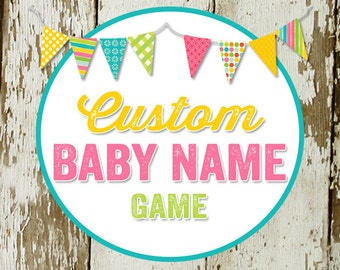 BABY NAME game card for baby  made to match any invitation, digital, printable file katiedid designs cards
