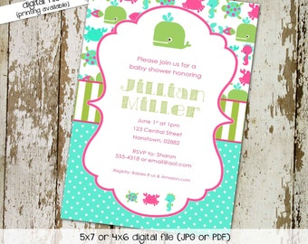 under the sea ocean invitation baby girl shower mint green coral baby sprinkle octopus whale crab turtle (item 1319) shabby chic invitations