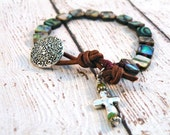 Boho Knotted Abalone Bracelet with Earthy Cross Silver Filigree Button// Boho Earthy Luxe Chic/ Ready to Ship