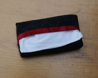 Handmade Black and Red Fabric Tissue Holders for  purse, pocket, diaper bag, child's backpack, vehicle console or sun visor