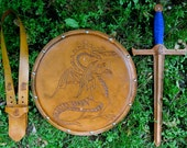 SWORD Set - Sword, Shield, & sword Belt w/ Dragon Emblem - Handmade Leather