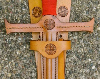 SWORD & sword BELT Set w/ Celtic Knot Emblem - Handmade Leather