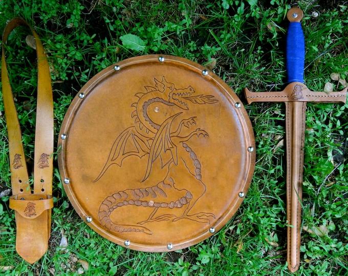 SWORD Set - Sword, Shield, & sword Belt w/ Dragon Emblem - Handmade Leather