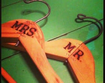Handmade Mr. & Mrs. Vintage Wooden Hangers
