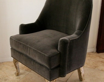 Mid Century Style Barrel Back arm chair Modern glam with nail heads