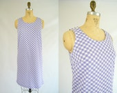 Vintage 1960s Summer Dress / Purple and White Checks / Sleeveless / Picnic Dress