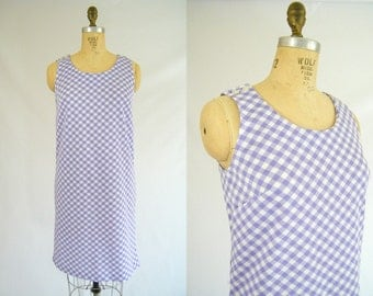 Vintage 1960s Summer Dress / Purple and White Checks / Sleeveless / Picnic Dress