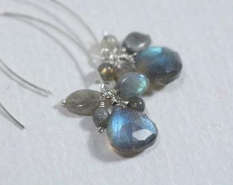 Gemstone Earrings Dangle Earrings Chandelier Earrings - Labradorite Earrings wire jewelry