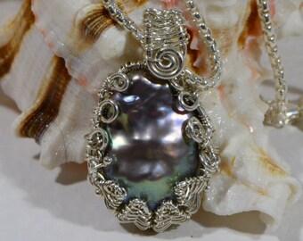 Black Keishi Pearl Wire Wrap Pendant freshwater Pearl AAA Birthstone Jewelry