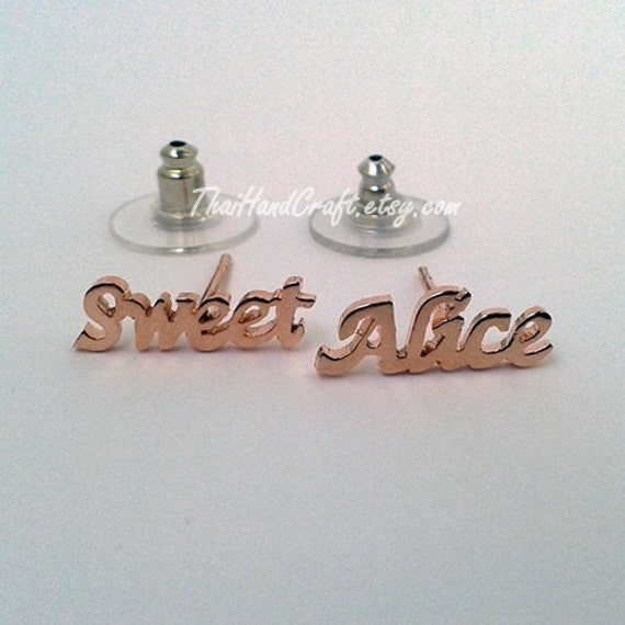 Name Earrings alphabet earring stud earring by ThaiHandCraft
