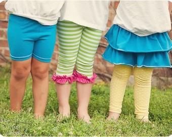 Lollipop Leggings: Leggings PDF Sewing Pattern, Ruffled Leggings, Skirted Leggings