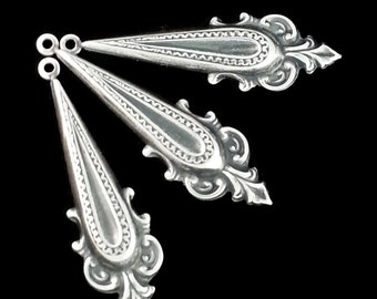 Silver Plated Brass Fancy Victorian Style Point Bail or Earring Drop Stamping Three ( 3 ) Perfect for Steampunk Art Made in the USA Brass