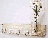 Shabby Chic Jewelry Holder, Distressed vase, Primitive Wooden Wall Hanger, Brushed Nickel hooks, Mason Jar, French Country