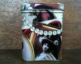 Vintage English Woman with Pearls Tin Box Canister circa 1970's / English Shop