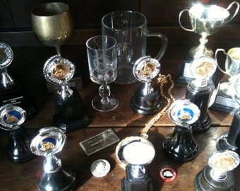 Vintage English large trophy cup collection motor car motorbike racing 1950s 1960s job lot of 20 / English Shop