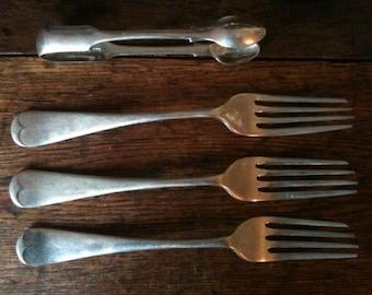 Vintage English EPNS silver plated dinner forks x 3 and sugar tong circa 1940's / English Shop