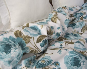 Pallatial super king size bedding- Turquoise blue white roses floral print TWIN XL Full Queen King duvet cover - shabby chic Bedding bedroom