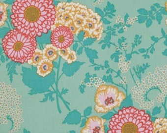 "End of Bolt 5"" of Botanique Bold Bouquet Teal by Joel Dewberry for FreeSpirit LAST PIECE"
