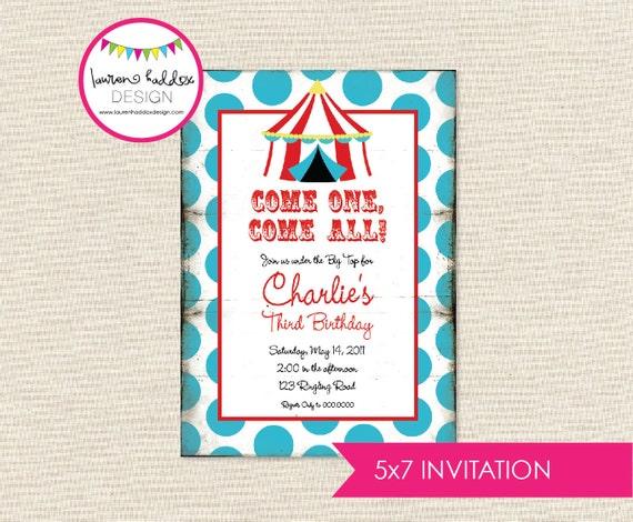 Vintage Circus Birthday Invitation, Vintage Circus Birthday, Vintage Circus Birthday Decorations, Lauren Haddox Designs