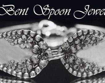 Silver Spoon Bracelet, Vintage Antique Mayflower 1901 recycled Spoon Cuff Bracelet..Silverware Jewelry
