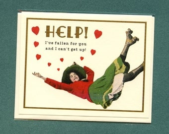 CAN'T GET UP - Funny Love Card - Funny Valentine Card - I Love You Card - Love Card - Card for Boyfriend - Card for Girlfriend - Item# L059