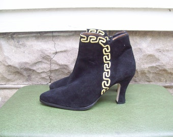 Avant Garde Black Suede High Heeled Booties With Gold Rope Trim Size 7M