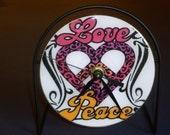 Love Peace Recycled CD Clock Art