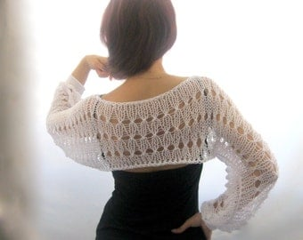 Cotton Summer Cropped  Sweater Shrug in white color, hand knitted, ecofriendly