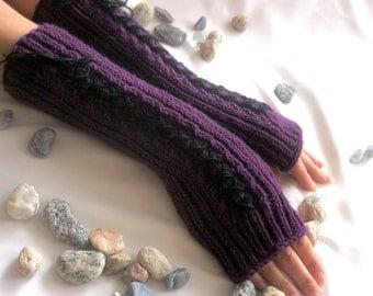 Hand Knit Long  Purple  Fingerless Gloves