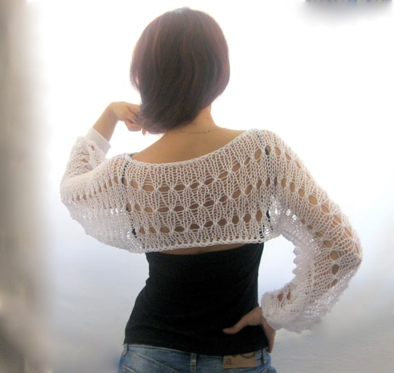 Cotton Summer Cropped Sweater Shrug in white color hand