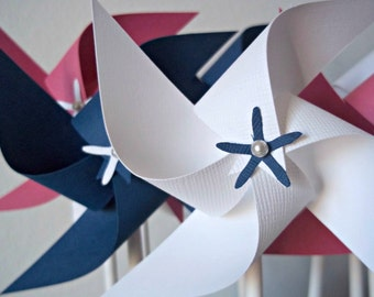 Girly Nautical Paper Pinwheel Set. Pink, White & Navy Blue. Birthday Favors, Baby Shower, Party Decor. (set of 16 small)