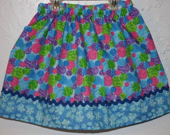 Little Girls Skirt  Made with Tutti Frutti Poly/Cotton blend  Size 2 - 7