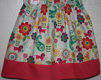 Clearance Flowers and Puppies  Little Girls Skirt    Made with Cotton Size 2 - 7