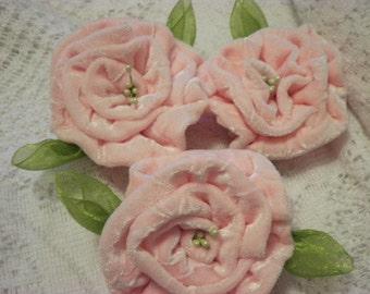 PINK VELVET ROSEs handmade flower pins