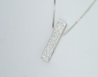 Gliterring Silver Bar Pendant - Medium, Fused, Textured