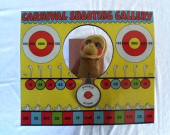 Vintage Tin Carnival Dart Gun Shooting Gallery Toy