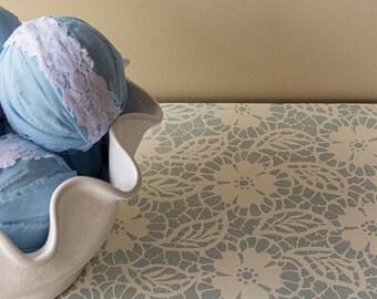 Small Lace Allover Furniture Stencil Fleur de Lace for Easy DIY Craft Decor