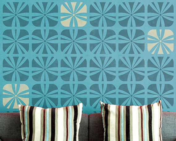 Geometric Flower Stencils : Geometric square flower wall stencil for wallpaper look