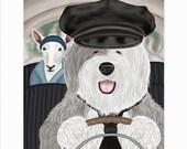 Old English Sheep Dog Matted 8x10 Art Print