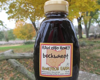Buckwheat Honey -Pure Raw Ohio Honey -16 ounce jar