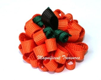 Pumpkin Loopy Puff Bow Big or Itty Bitty Size